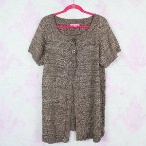 Woman Within 14/16 Brown Knit Soft Cardigan Plus